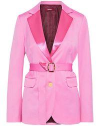 Sies Marjan Terry Blazer Aus Woll-twill Mit Satinbesatz Und Gürtel - Pink