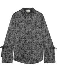 Cinq À Sept Elisia Tie-detailed Printed Silk-charmeuse Shirt - Black