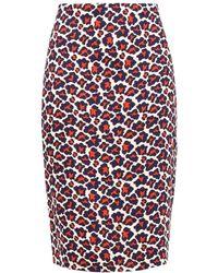 Diane von Furstenberg Leopard-print Stretch-crepe Pencil Skirt Brick - Red