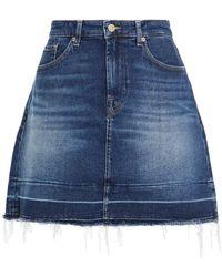 7 For All Mankind 7 For All Kind Frayed Denim Mini Skirt - Blue