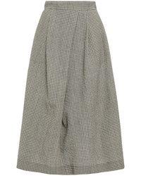 Hofmann Copenhagen Carine Pleated Gingham Wool-blend Midi Skirt - Black