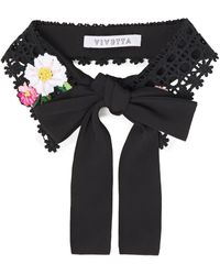 Vivetta Embroidered Crocheted Lace And Crepe Collar - Black