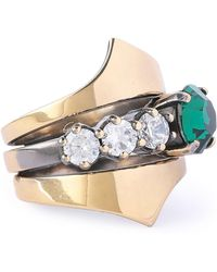 Iosselliani - Burnished Gold-tone Crystal Ring - Lyst