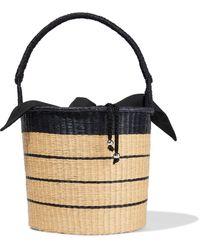 Sensi Studio Two-tone Striped Woven Toquilla Straw Bucket Bag Beige - Natural