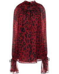 Redemption Gathered Leopard-print Silk-crepon Blouse
