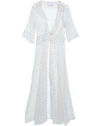 We Are Leone Ruffle-trimmed Printed Silk-georgette Jacket - White
