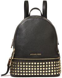 MICHAEL Michael Kors Studded Pebbled-leather Backpack Black