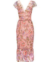 Marchesa notte - Metallic Embellished Tulle Midi Dress - Lyst