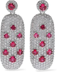 CZ by Kenneth Jay Lane - Crystal Silver-tone Earrings - Lyst