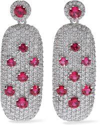 CZ by Kenneth Jay Lane - Woman Crystal Silver-tone Earrings Silver - Lyst