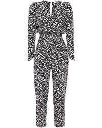 Maje Wrap-effect Shirred Leopard-print Crepe Jumpsuit Black