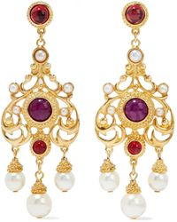 Ben-Amun 24-karat -plated Stone And Faux Pearl Earrings - Metallic