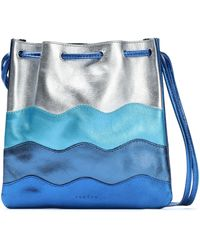 Sandro - Color-block Metallic Leather Shoulder Bag - Lyst