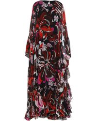 Emilio Pucci Ruffled Printed Silk-blend Georgette Kaftan Black
