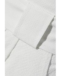 Solid & Striped Belted Seersucker Wide-leg Trousers - White
