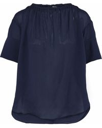 House of Dagmar Lou Gathered Textured Crepe De Chine Blouse Navy - Blue