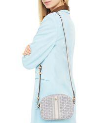 Tory Burch Gemini Link Mini-schultertasche Aus Canvas Mit Lederbesatz - Weiß