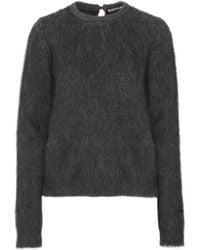 Rochas - Leopard Print-paneled Faux Fur Sweater - Lyst