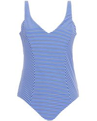 Seafolly Cutout Striped Ribbed Swimsuit - Blue