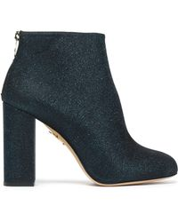 Charlotte Olympia - Glittered Leather Ankle Boots Midnight Blue - Lyst