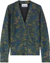 Ganni - Printed Metallic Knitted Cardigan Green - Lyst
