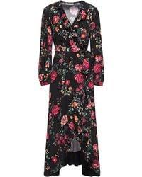 Maje Rose Print Midi Wrap Dress - Black