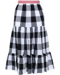 Stella Jean Grosgrain-trimmed Gathered Gingham Cotton-poplin Skirt Grey - Gray