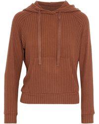 Enza Costa Ribbed-knit Hoodie - Brown