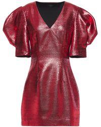 De La Vali Gathered Textured-lamé Mini Dress Red