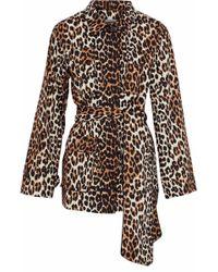 Ganni - Leopard-print Cotton-twill Jacket - Lyst