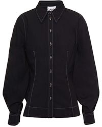 Ganni Cotton-poplin Shirt - Black