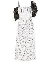 Rejina Pyo Wrap-effect Ruched Polka-dot Seersucker Midi Dress White