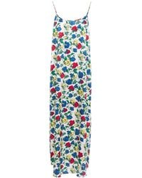 YOLKE Juno Floral-print Stretch-silk Satin Nightdress - White