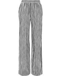 Michael Kors Striped Silk-crepe Wide-leg Trousers Black