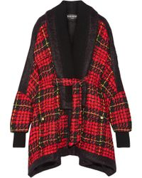 Balmain - Oversized Felt-trimmed Checked Bouclé-tweed Coat - Lyst