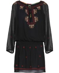 Joie - Embroidered Crinkled Silk-chiffon Mini Dress - Lyst