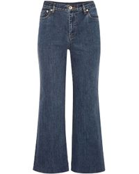 A.P.C. - Woman High-rise Flared Jeans Mid Denim - Lyst