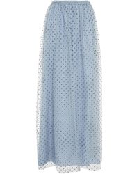 RED Valentino Gathered Glittered Tulle Maxi Skirt Slate Blue