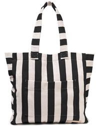 Zimmermann Striped Herringbone Cotton Tote Black