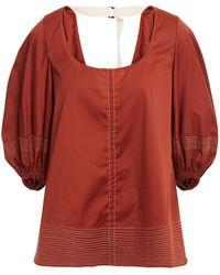 Lee Mathews Sara Empire Cotton-blend Top - Red