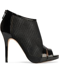 Lucy Choi - Macbeth Patent Leather-trimmed Mesh Ankle Boots - Lyst
