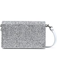 Diane von Furstenberg Disco Soirée Mini Tinsel-appliquéd Mirrored-leather Shoulder Bag Silver - Metallic