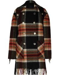 CALVIN KLEIN 205W39NYC + Pendleton Double-breasted Fringed Checked Wool Coat Multicolour