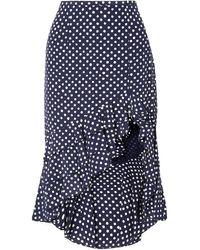 Michael Kors Rumba Ruffled Asymmetric Polka-dot Silk Crepe De Chine Skirt - Blue