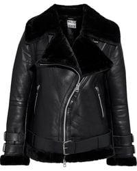 Walter Baker Whitney Faux Fur-trimmed Leather Biker Jacket - Black
