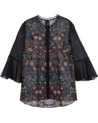 Elie Tahari - Embroidered Organza Blouse - Lyst