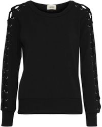 L'Agence - Mirana Lace-up Fleece Sweatshirt - Lyst