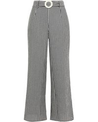 Solid & Striped Belted Gingham Woven Wide-leg Trousers - Black