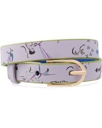Tory Burch Gold-tone And Printed Leather Wrap Bracelet Lilac - Purple
