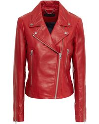 Rag & Bone Leather Biker Jacket Red